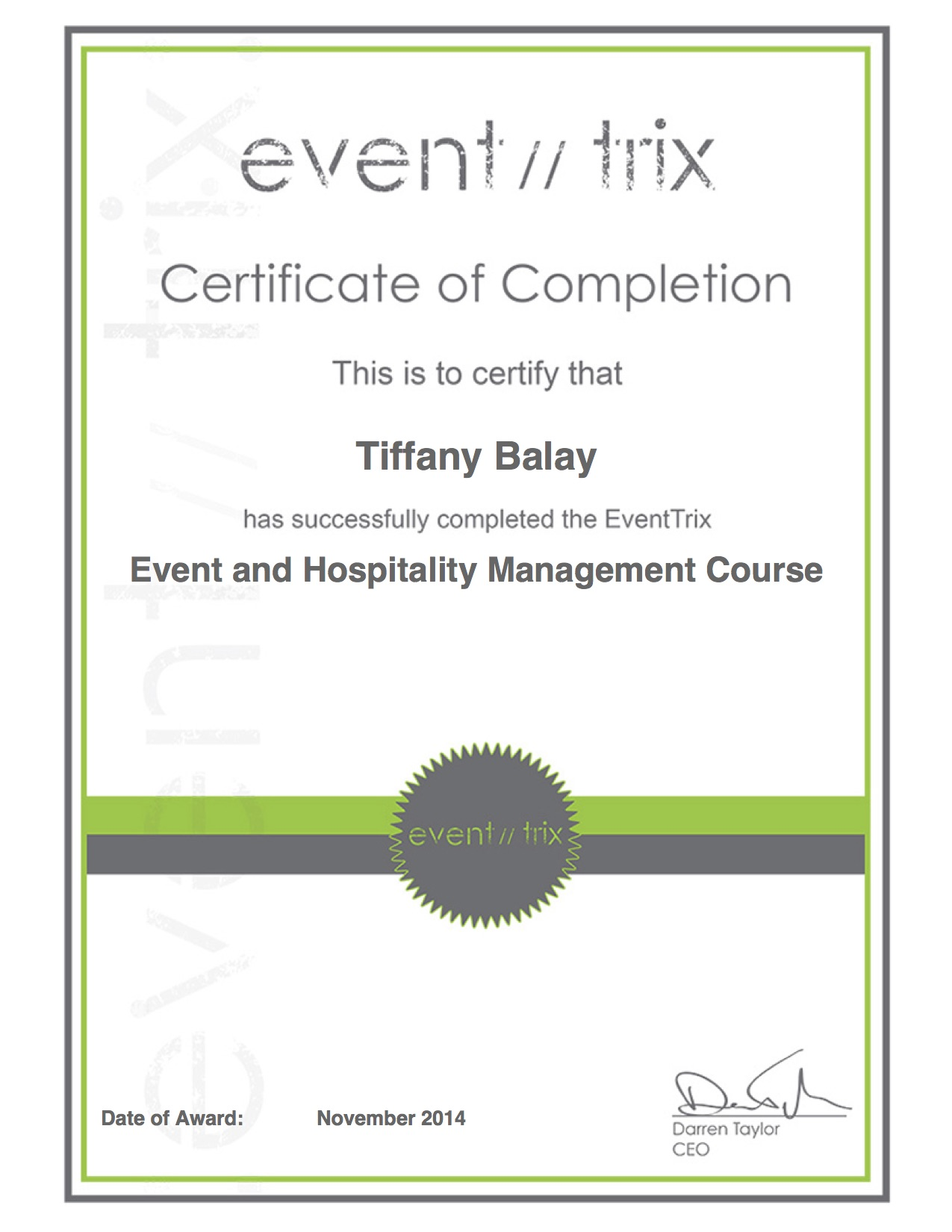 Event & Hospitality Management Cert