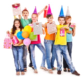Group of teen people in party hat. Isola