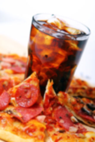 Fresh pizza with salami and mushrooms an