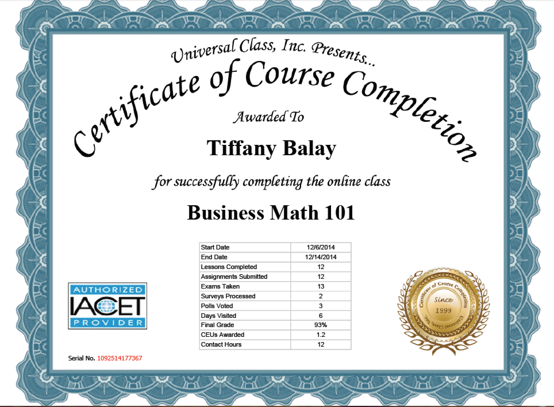 Business Math 101 Certificate