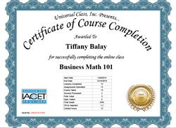 Business Math 101 Certificate