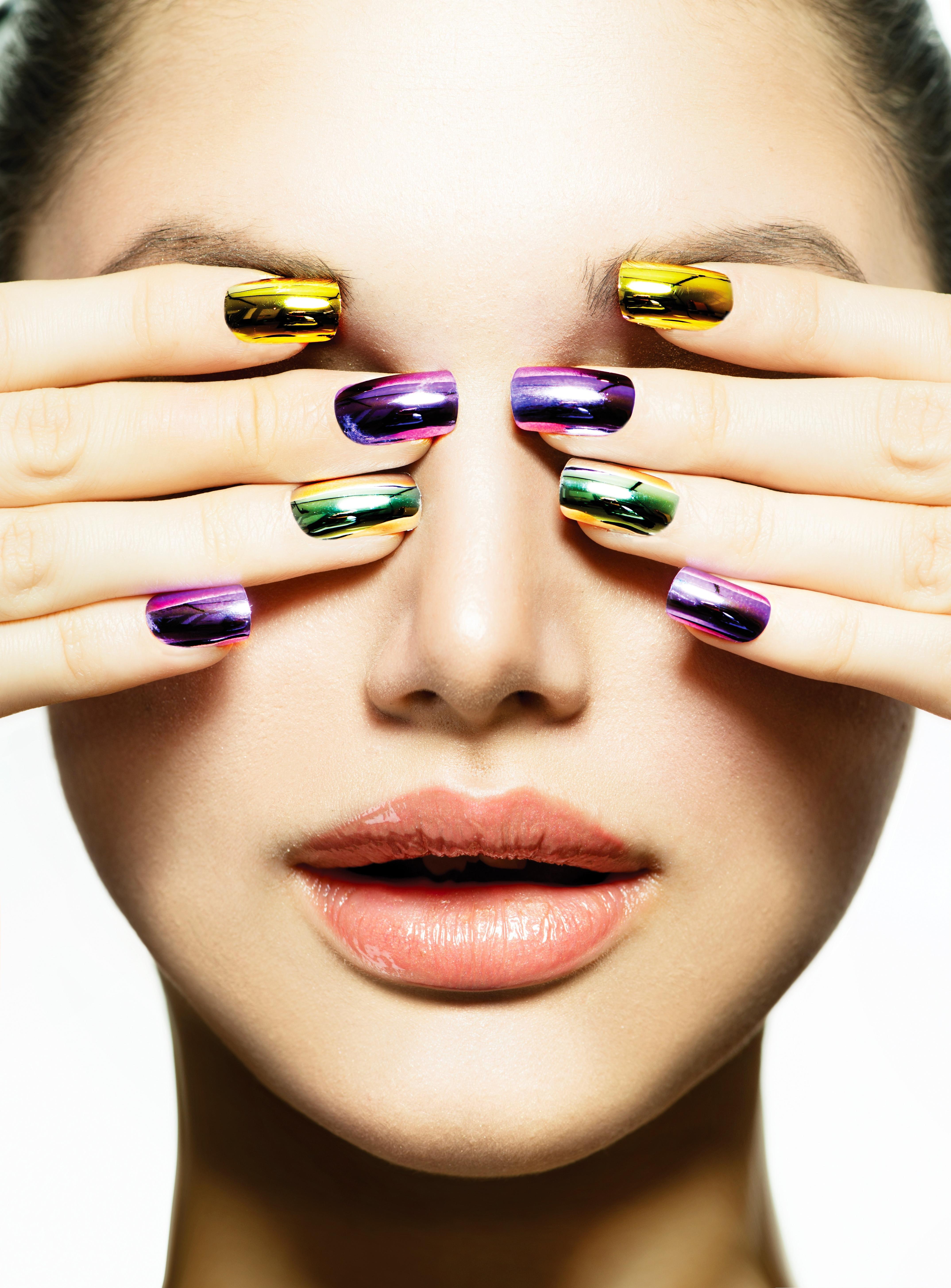 Chrome Holographic Manicure