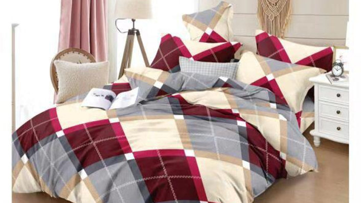 POLY COTTON  DOUBLE BEDSHEET WITH 2 PILLOW COVERS - Multicolor