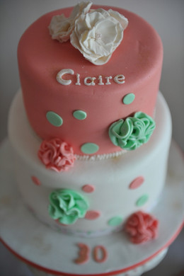Gâteau corail vert et blanc_