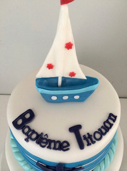 Gâteau baptême de Titouan, style marin