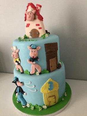 Gâteau les 3 petits cochons de Victor