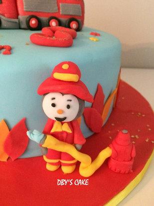 Gâteau Tchoupi pompier de Ilan