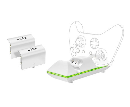 Sparkfox - Dual Controller Charge Dock + 2 Rechargable Batteries - White