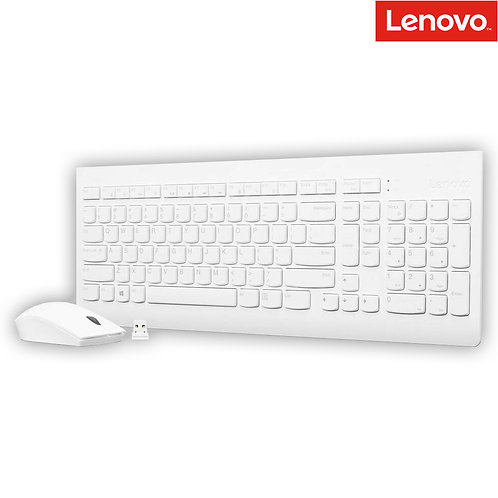 Lenovo - 510 Wireless Combo Keyboard and Mouse - White (HEB)