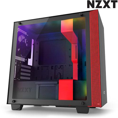 NZXT - H400i - Matte Black + Red RGB - Transparent Glass Side