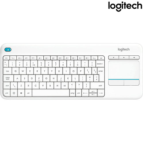 Logitech - K400 Plus Media with Touchpad (HEB) - White