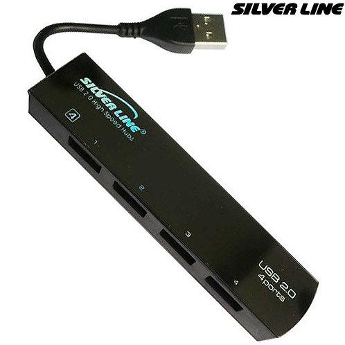 USB Hub USB 2.0 - Silver Line - 4-Port Ultra-Thin
