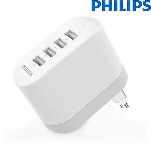 Philips - Ultra Fast Four USB Wall Charger - 4.8A/24W