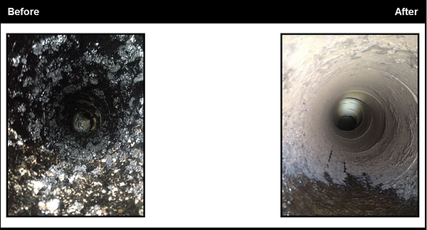 sweeping a chimney before and after image