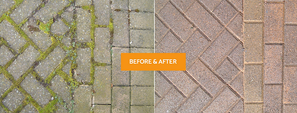 driveway cleaning before and after image