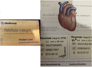 This photo is my implant card for the 2 stents I received on 2/25/2012.  Turns out I wasn't awake to see this go in but know that it had life-saving powers for me. :)