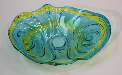 Blue Green Glass Plate