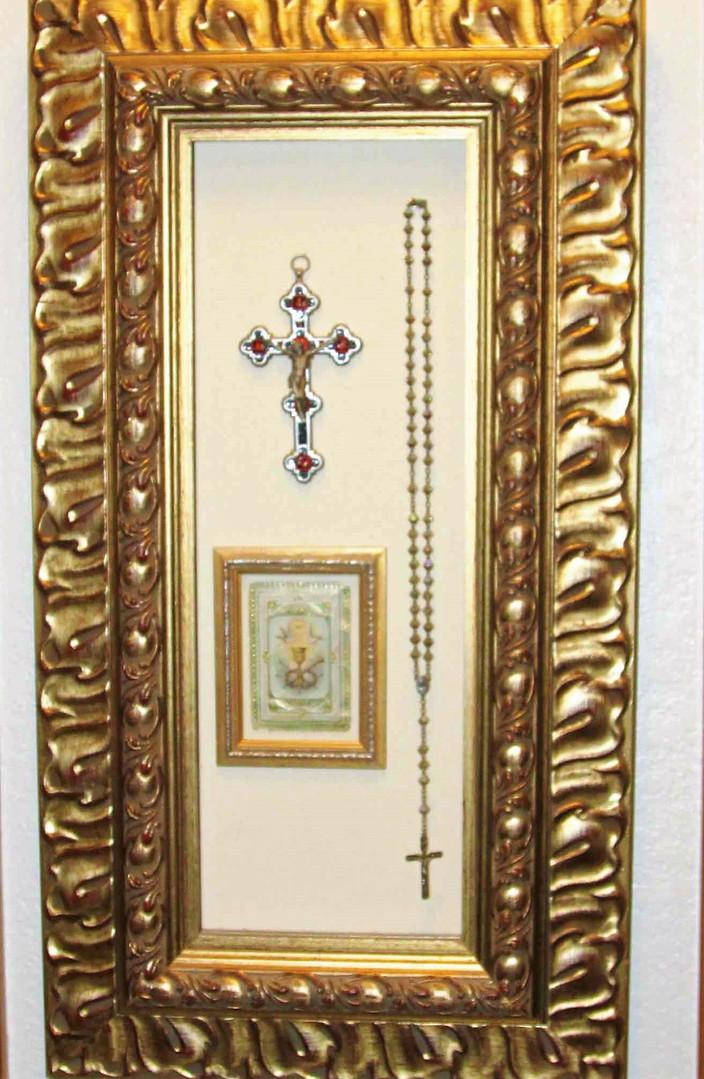 Italian inlaid cross and mountings frame