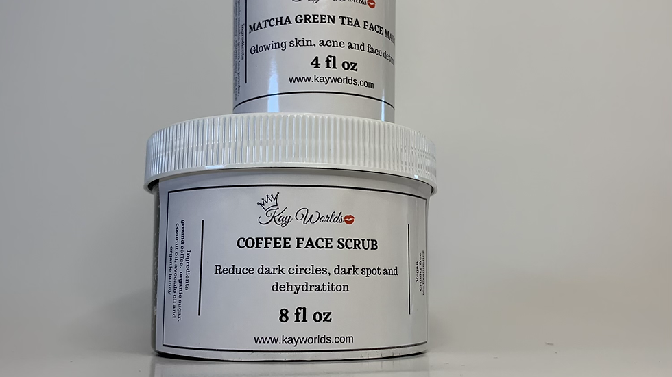 Duo matcha green tea mask/coffee scrubs