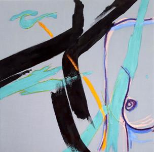 Female I, 2018 Paint, oil pastel and thread on cotton fabric on canvas Unique original 50 x 50cm