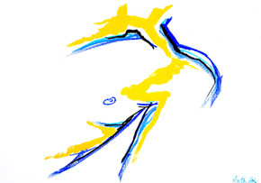 Male (blue and yellow) 2019 Unique original on paper 59.4 x 84.1 £350