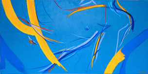 Blue Male, 2018 Paint, oil pastel and thread on blue suede fabric on canvas Unique original 100 x 50cm  SOLD