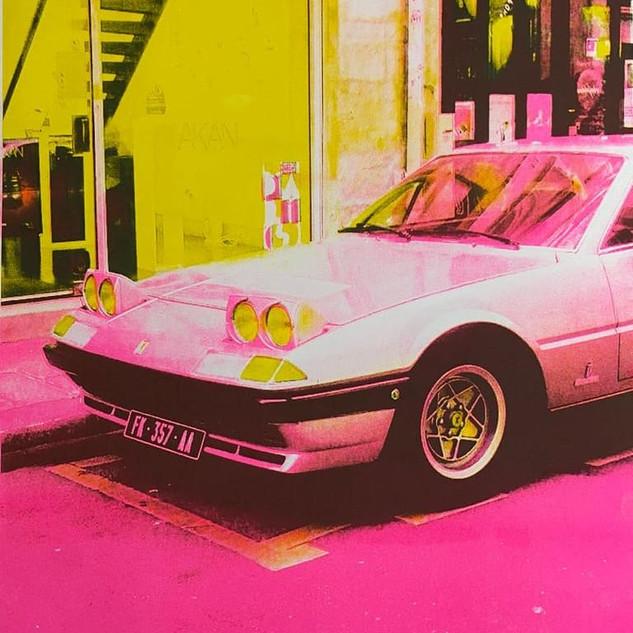 pink car risograph print
