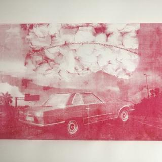 burning car, silk screen