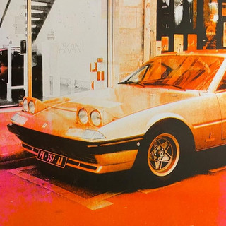 orange car risograph print