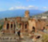Teatro de Taormina com o Etna ao fundo, passeios com guias e motoristas particulares