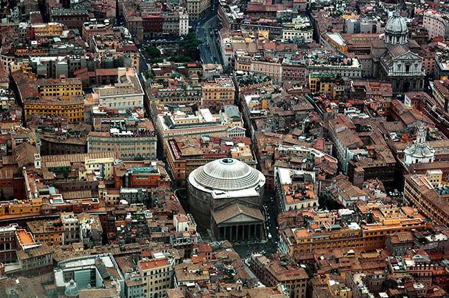 Onde ficar em Roma, vista aérea do Pantheon