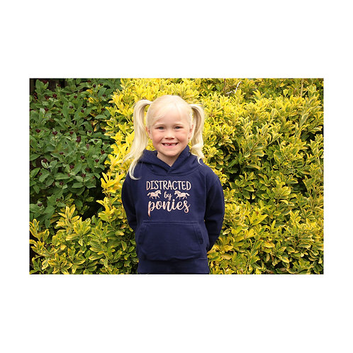 British Country Collection Distracted by Ponies Glitter Hoodie - Navy/Rose Gold
