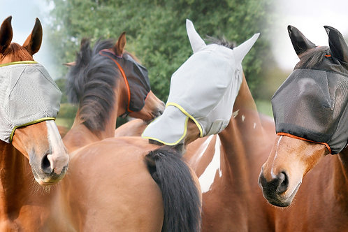 Equilibrium Field Relief Fly Masks With Ears [Grey w.lemon trim]