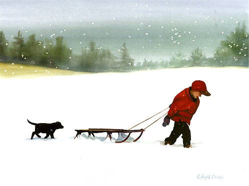 Boy Pulling Sled with Puppy