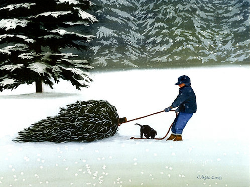 Boy Pulling Tree with Puppy
