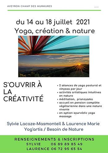 stage été yoga & créativité AGE AUBRAC 2