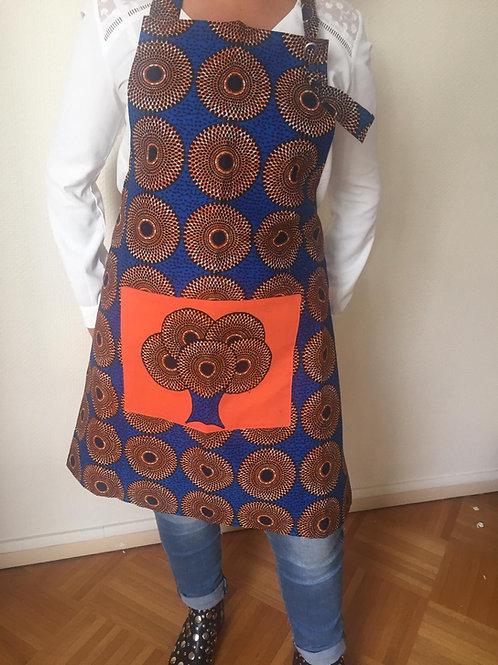 tablier cuisine femme wax tissu africain bleu rond soleil
