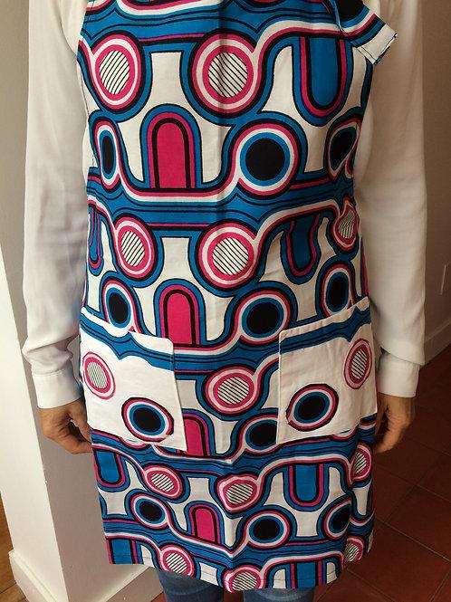 tablier cuisine femme wax année 70 turquoise rose géométrique poche œillet