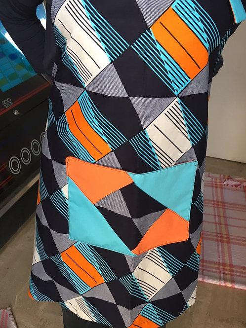 tablier cuisine wax marine bleu orange poche œillet