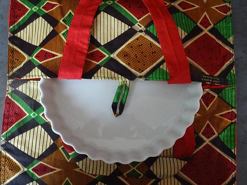 sac à tarte géométrique marron vert rouge
