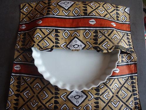 sac à tarte wax marron tissu africain coton pagne boubou cuisine gâteau grain de sable