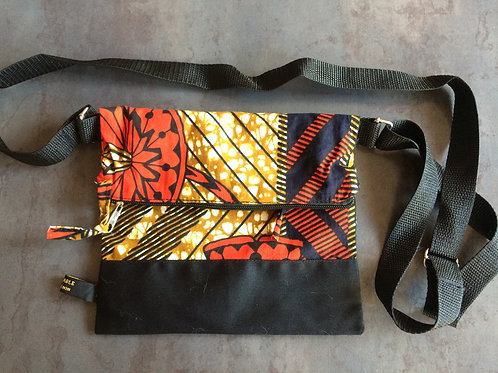 sac bandoulière 2 poches fermeture éclair tissu cadeau