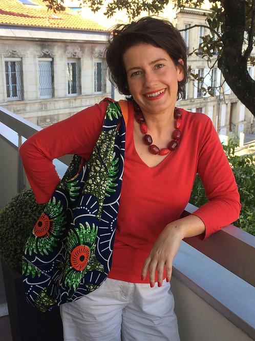 sac de plage wax africain coton fourre tout coloré bénin Yovo boubou orange bleu vert fleurs