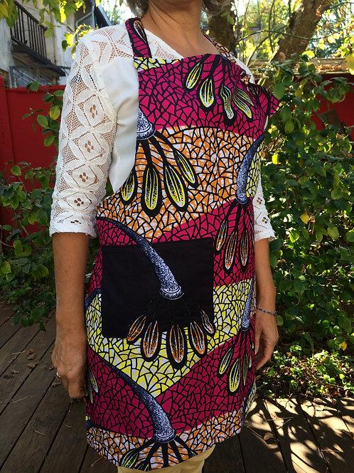 tablier wax coton cuisine tissu africain coloré poche grain de sable