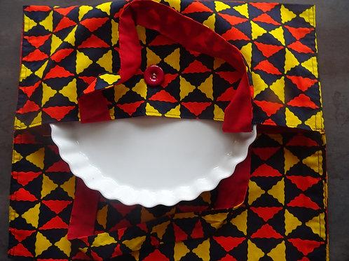 sac à tarte wax tissu africain rouge jaune cuisine gâteau grain de sable