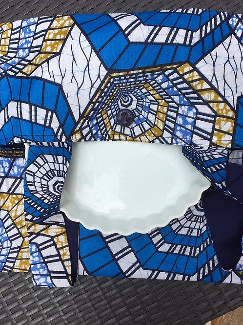 sac à tarte wax tissu africain coton pagne boubou bleu dessins géométriques