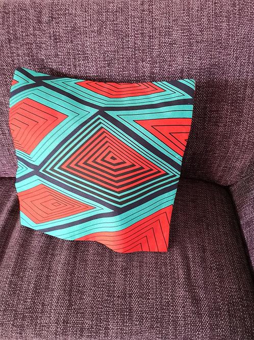 coussin rouge tissu africain fait main décoration ameublement coton pagne lavable en machine grain de sable
