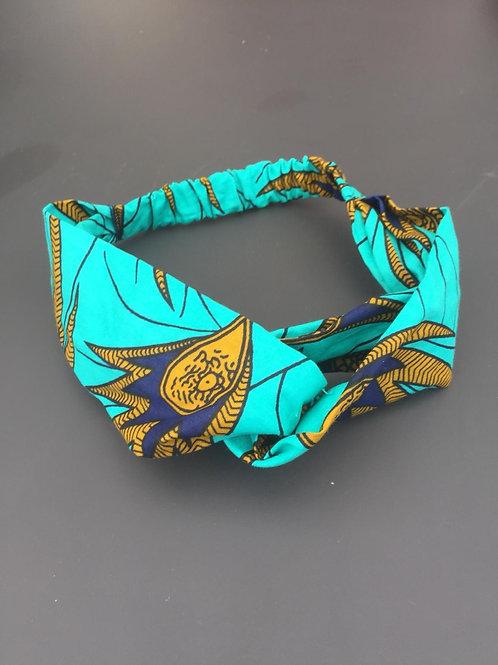 headband cheveu coiffure chouchou accessoire artisanal fait maison turquoise