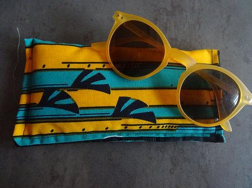 tissu étui pochette éventail jaune bleu cadeau accessoire adulte wax
