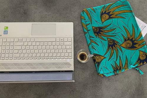 Housse ordinateur portable turquoise plumes marron